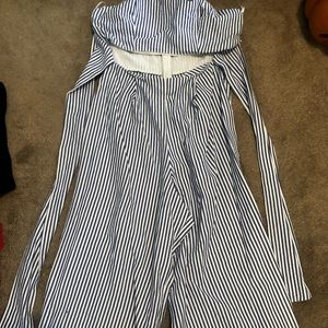 Strapless jumpsuit with tie front (worn once!)